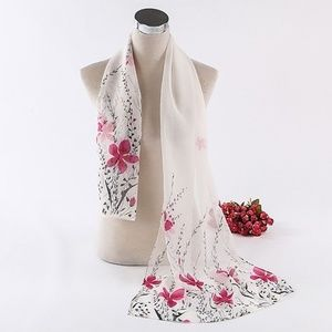 Accessories - White Chiffon Pink Floral Wrap Scarf Shawl
